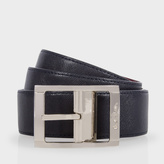 Paul Smith Men's Navy And Burgundy Reversible Saffiano Leather Belt