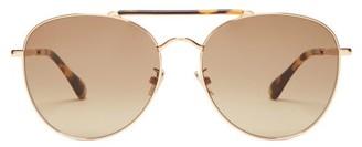 Jimmy Choo Abbie Tortoiseshell Metal Aviator Sunglasses - Womens - Tortoiseshell