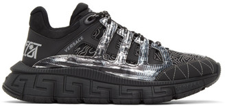 Versace Black and Silver Trigreca Sneakers