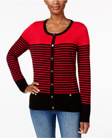 Karen Scott Colorblocked Striped Cardigan, Only at Macy's