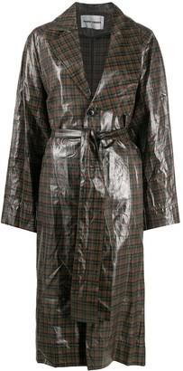 Henrik Vibskov Asymmetric Plaid Raincoat