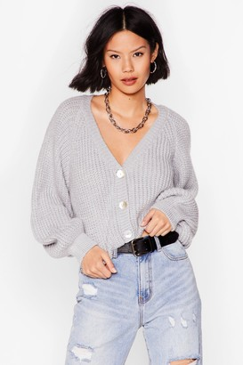 Nasty Gal Womens V-Neck Cropped Cardigan with Button-Closure - Silver Grey