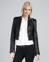 Rachel Zoe Bobby Cropped Leather Jacket, Black