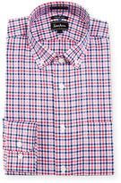 Neiman Marcus Trim-Fit Regular-Finish Plaid-Print Dress Shirt, Pink
