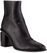 Alexander Wang Anna Block-Heel Leather Booties - Rhodium-Tone Hardware