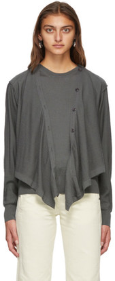 Lemaire Grey Merino Cardigan Sweater