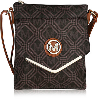 MKF Collection by Mia K. Women's Crossbodies - Dark Brown Geometric Insignia Envelope Crossbody