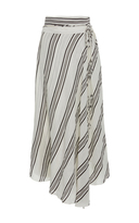 Apiece Apart Striped Linen and Silk-Blend Skirt