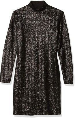 Dress the Population Women's Janis Mock High Neck Long Sleeve Sequin Mini