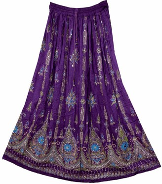 Dancers World Ltd Stunning Ladies Indian Boho Hippie Gypsy Sequin Summer Sundress Maxi Skirt M L (PURPLE MAUVE)