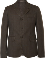Prada Brown Slim-Fit Contrast-Stitched Wool Blazer