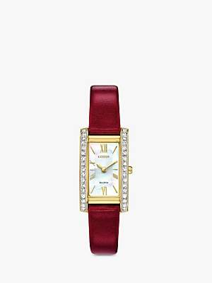 Citizen Women's Silhouette Crystal Leather Strap Watch, Red/Mother of Pearl EX1472-05D