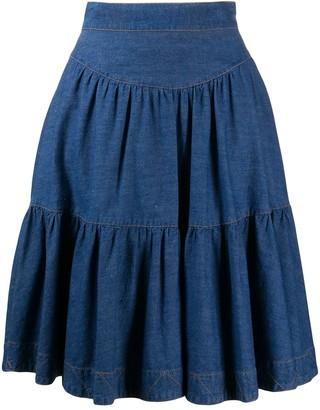 Fendi Pre Owned A-line denim skirt