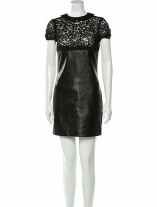 Saint Laurent Lamb Leather Mini Dress Black
