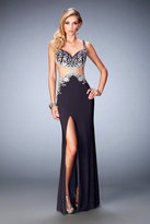 La Femme 22828 Sleeveless Embroidered Cutout Jersey Gown