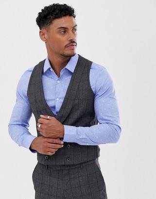 Harry Brown slim fit burgundy over check peek lapel suit waistcoat-Grey