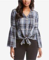 Karen Kane Bell-Sleeve Tie-Front Plaid Shirt