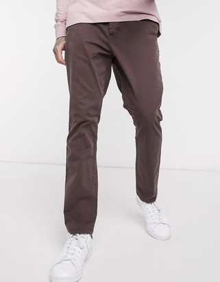 Asos Design DESIGN tapered chinos in washed brown