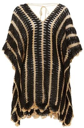 My Beachy Side - Pan Tie-back Crochet-knitted Kaftan - Womens - Black
