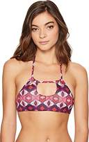 Roxy Women's Printed Strappy Love Reverisble Halter Cropped Bikini Top