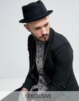 Reclaimed Vintage Inspired Pork Pie Hat Black