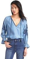 Gap Tencel® denim embroidered top