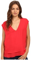 Heather Silk Double Layer V-Neck Top