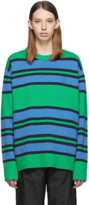 Acne Studios Green and Blue Nimah Face Crewneck Sweater