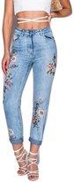Momo&Ayat Fashions Ladies Floral Embroidered Denim Boyfriend Jeans CA Size 2-10