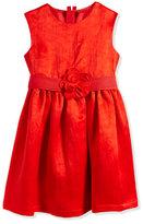 Lanvin Duchess-Washed Linen Dress, Poppy Red, Sizes 8-12