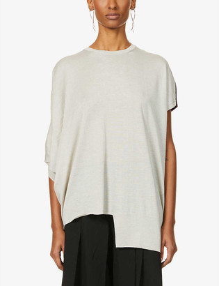 Y's Asymmetric wool-blend top
