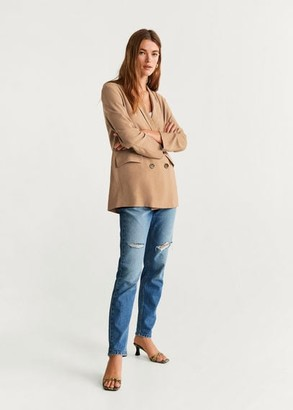 MANGO Double-breasted blazer brown - S - Women