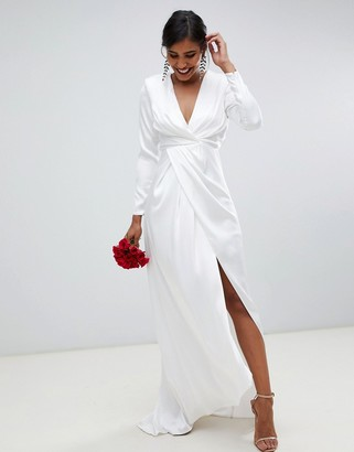 Asos Edition EDITION pleated plunge wrap wedding dress in satin-White