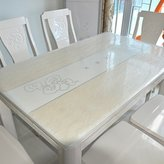 JIN Tablecloths PVC Table Cloth,Soft Glass Water And Hot Table Mat, Transparent Matte Cloth,Plastic Table Mat