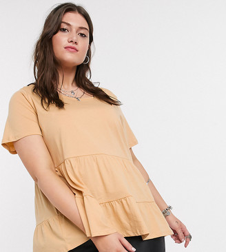 Only Curve smock t-shirt in sand