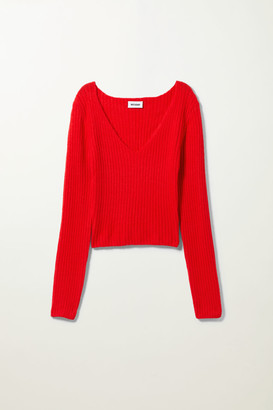 Weekday Paolina V-Neck Top - Red