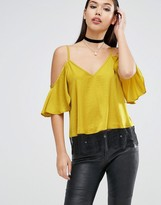 Asos Cold Shoulder Satin Cami With Lace Hem