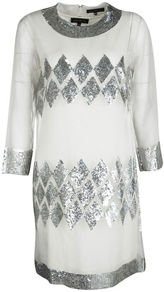 Barbara Bui Off White Organza Sequin Embellished Shift Dress M