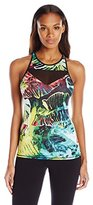 Pink Lotus Women's Raveforest Jungle Printed Front Cut Out Racer Back Tank