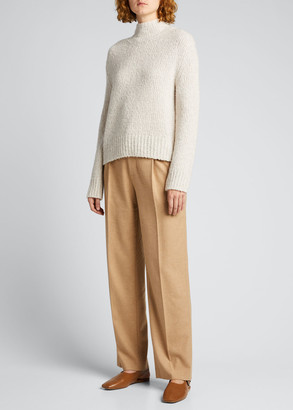 Vince Textured Wool-Cashmere Funnel-Neck Sweater
