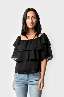 Gibson Sarah Off Shoulder Tiered Lace Trim Blouse