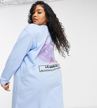 ASOS DESIGN Curve oversized t-shirt dress with long sleeve los angeles graphic in blue