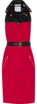 Moschino Faux Leather-Paneled Silk-Crepe Dress