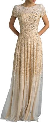 Basix II Sequin Embellished Short-Sleeve Gown