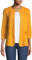 Misook Petite Short Textured Knit Jacket with Zipper Detail