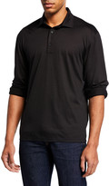 Ermenegildo Zegna Men's Lightweight Wool Long-Sleeve Polo Shirt, Black
