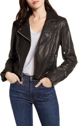 Andrew Marc Bubble Leather Moto Jacket