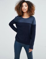Shae Donna Block Color Sweater in Navy