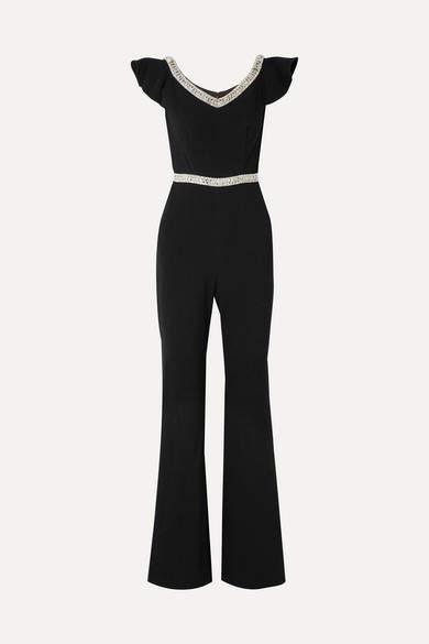 Rachel Zoe Reeda Off-the-shoulder Embellished Crepe Jumpsuit - Black