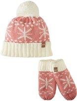 Peppercorn Kids Snowflake Pompom Beanie and Mitten Set (Toddler/Kid) - Frost Blue - Medium